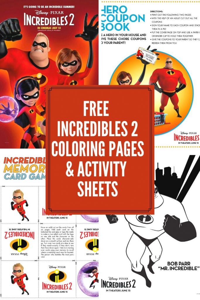 Free  Incredibles 2 Coloring Pages & Activity  Sheets