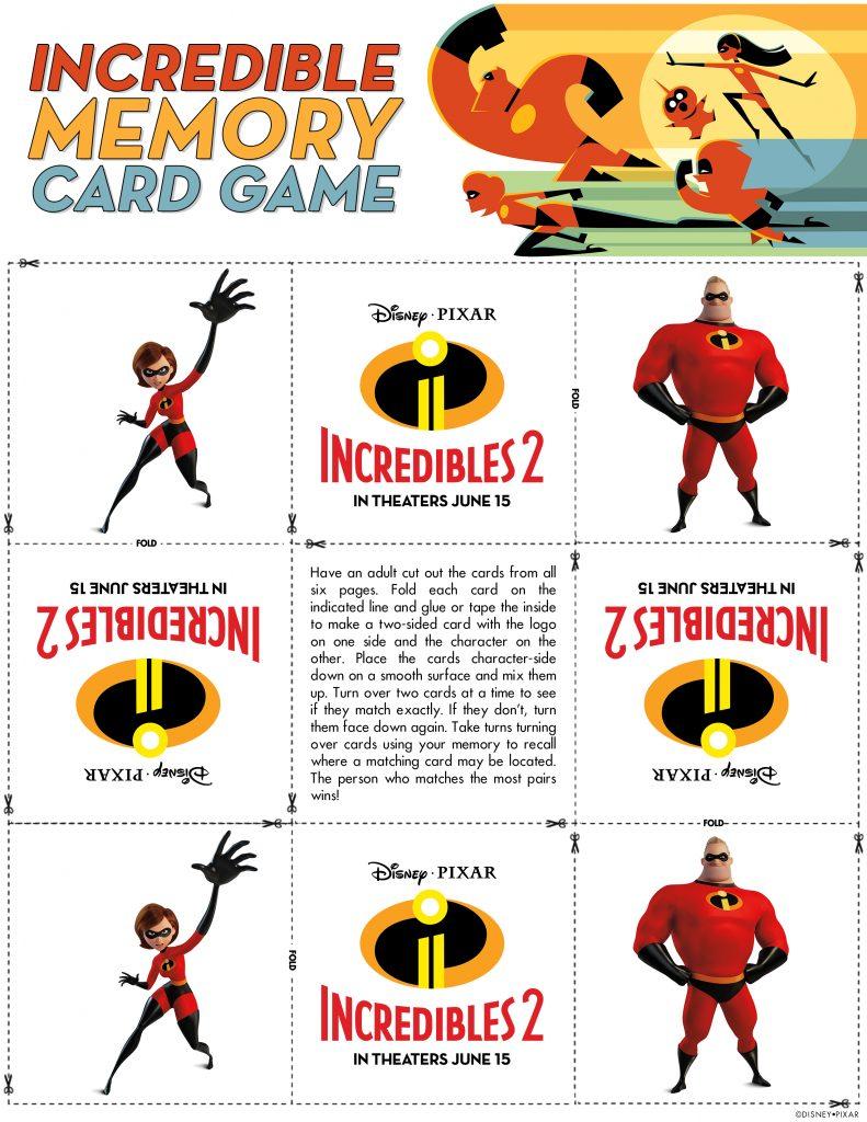 Incredibles 2 matching game