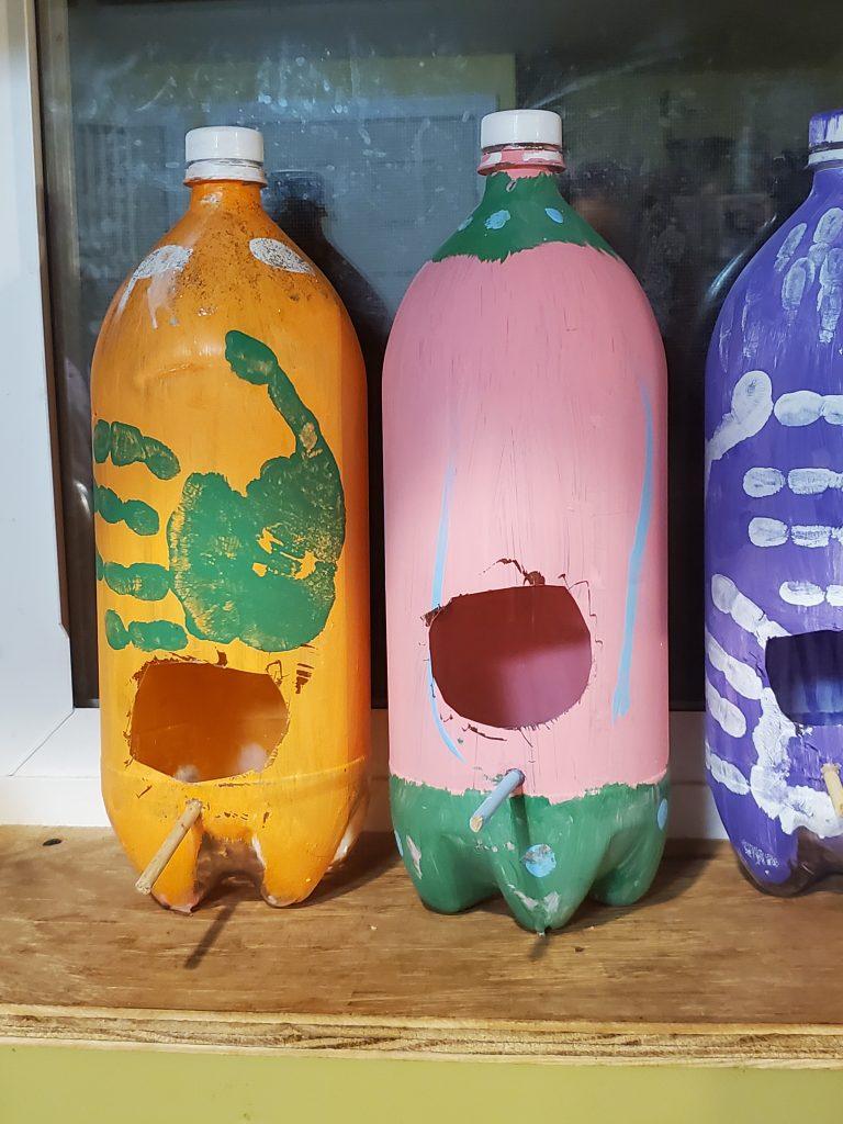 upcycled plastic bottle diy birdhouse